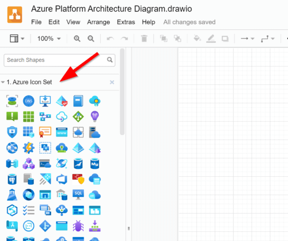 Azure icon library in diagrams.net
